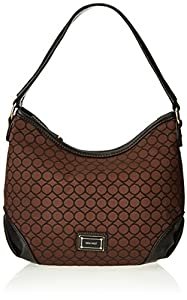 Nine West Mini 9S Sateen Hobo,Black/Brown,One Size