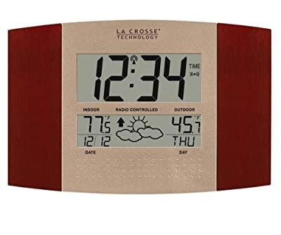 La Crosse Technology WS-8157U-CH-IT Atomic Clock with Outdoor Temperature and Weather Forecast from La Crosse Technology