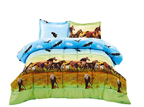 2 Piece Set Wild Horse and Eagle 3d Comforter Set (Y25) Twin Twin