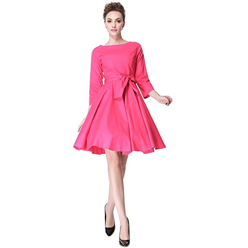 Heroecol 50s 60s Hepburn 3/4 Sleeve Style Vintage Retro Swing Rockailly Dresses Size XL Color Pink