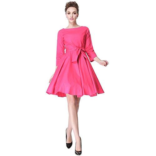 Heroecol 50s 60s Hepburn 3/4 Sleeve Style Vintage Retro Swing Rockailly Dresses Size M Color Pink