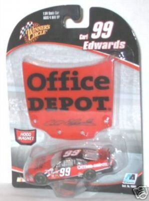 2006 Carl Edwards #99 Office Depot Ford 1/64 Scale Car Bonus Matching Magnet Hood Winners Circle - 1