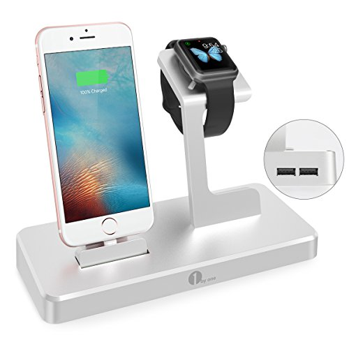 Station Apple Watch, 1byone Charging Dock Support pour iPhone, iPad & Apple Watch iWatch - 3 en 1 Chargeur en Alliage d'Aluminium - Argent