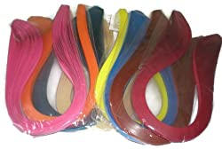 Naarilok 1200 Quilling Strips of 10 different colors 5mm Size - 12 packets of 100 strips each