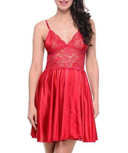 Intimate Satin Cherry Babydoll Dress Yy32