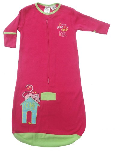 Bright Bots Baby Sleeping Bag in Soft Cotton Jersey - Bright Pink size 3-6 months