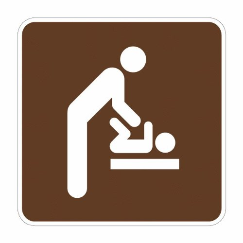 """Tapco Rs-137 Engineer Grade Prismatic Square National Park Service Sign, Legend """"Baby Changing Station, Men'S Room (Symbol)"""", 12"""" Width X 12"""" Height, Aluminum, Brown On White front-129770"""
