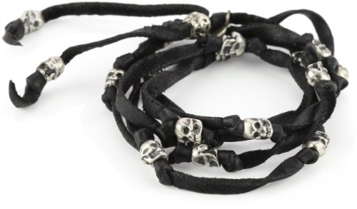M.Cohen Handmade Designs Black Leather Wrap Bracelet with Sterling Silver Skull's