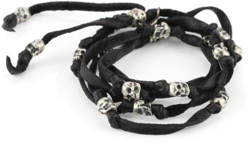 M.Cohen Handmade Designs Black Leather Wrap Bracelet with Sterling Silver Skull's