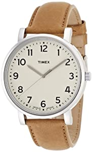 Timex T2P223 Classic White and Tan Leather Strap Watch