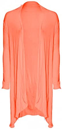 Fashion Victim, Ladies Long Sleeve Waterfall Bolero Shrug, Cardigan, Dark Colors (Coral)