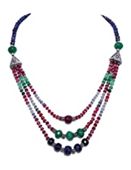 Multi Color Precious Gemstone Beads  Silver Elements 3 Rows Necklace