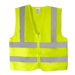 Neiko High Visibility Neon Yellow Zipper Front Safety Vest with Reflective Strips - Meets ANSI/ISEA Standards, Size XL