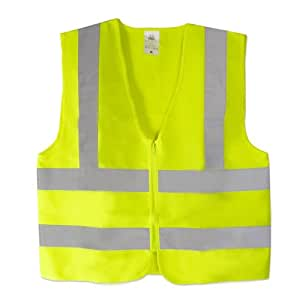 Neiko High Visibility Neon Yellow Zipper Front Safety Vest with Reflective Strips - Meets ANSI/ISEA Standards, Size Large