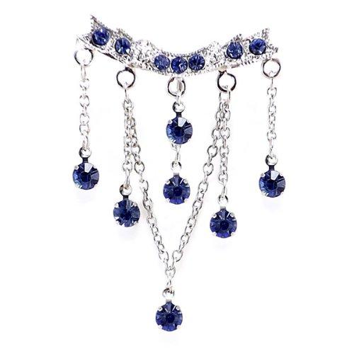 Blue Chandelier Top Down Crystal Dangle Belly Bar 14 Gauge = 1.6 x 10mm Length