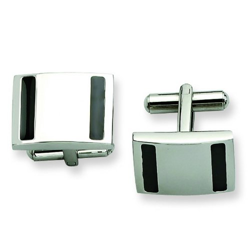 Stainless Steel Polished and Black-plated Cuff Links. Metal Weight- 18.04g.