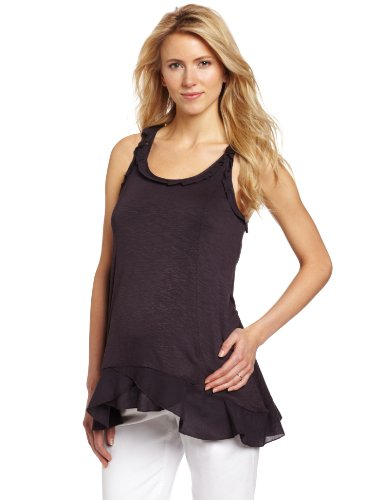 Mothers en Vogue Women's Maternity Waffle Trim Swing Top, Licorice, Small