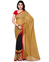 Surat Tex Beige & Black Color Corsa Georgette Printed Casual Wear Saree with Blouse Piece-I641SESD-3