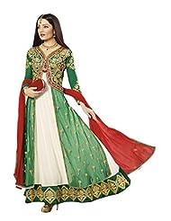 Stylelok Green Georgette Unstitched Anarkali Suit SL 11011930