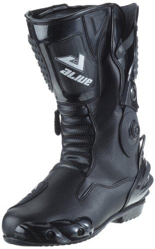 TS-006-46 Motorradstiefel Racing aliue, Wasserabweisend aus schwarzem Leder mit aufgesetzten Hartschalenprotektoren, Größe 46, Schwarz