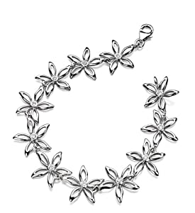 Elements Sterling Silver Ladies' B3938C Flower Bracelets Length 19cm