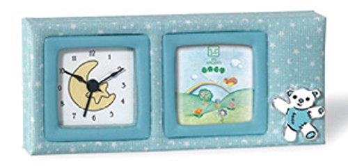 Silver Touch USA Picture Frame and Clock with Sterling Silver Bear, Blue
