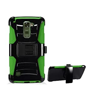 LG Stylo 2 Plus Case, IECUMIE Duo Armor Skin Protective Cover Case W/ Stand, Belt Clip, & Holster for LG G Stylo 2 Plus - Green