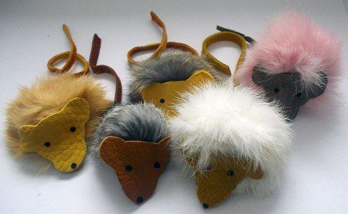 See Furry Mice Rabbit Fur & Deer Leather Handmade Cat Toys