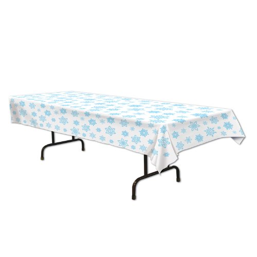 Beistle 1-Pack Snowflake Table Cover, 54-Inch By 108-Inch front-13016