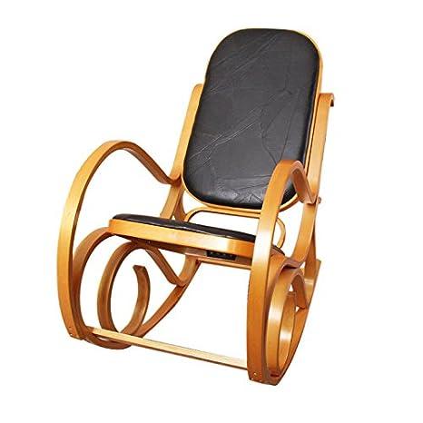 Sedia a dondolo M41 legno 90x50x90cm ~ quercia seduta patchwork nero