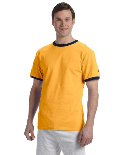 Champion Men's Ringer T-Shirt, S-C Gold/Navy