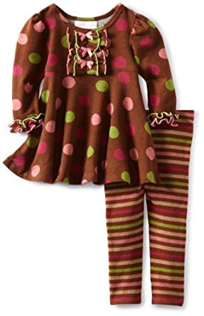 Bonnie Baby-Girls Infant Brown Fuzzy Multi Dot Legging Set, Brown, 24 Months