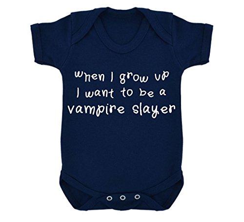 When I Grow Up I Want To Be A Vampire Slayer-Body per neonato, colore: blu con stampa, colore: bianco Blu navy 6-12 Mesi