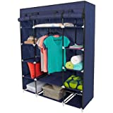 "Best Choice Products® 53"" Portable Closet Storage Organizer Wardrobe Clothes Rack with Shelves Blue"