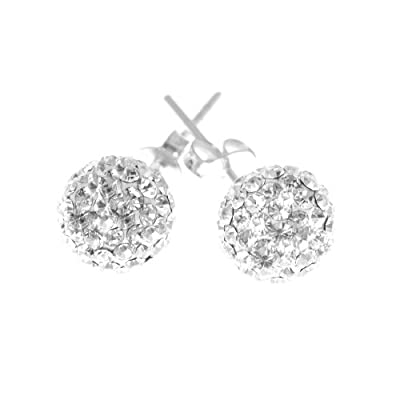 Decorum Jewellery Sterling Silver 925 8mm Swarovski Crystal Ball Stud Earrings.