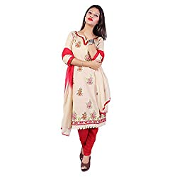 Raahi Beige Cotton Embroidered Unstitched Dress Material
