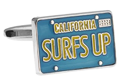 Surfs Up California License Plate Cufflinks with a Presentation Gift Box