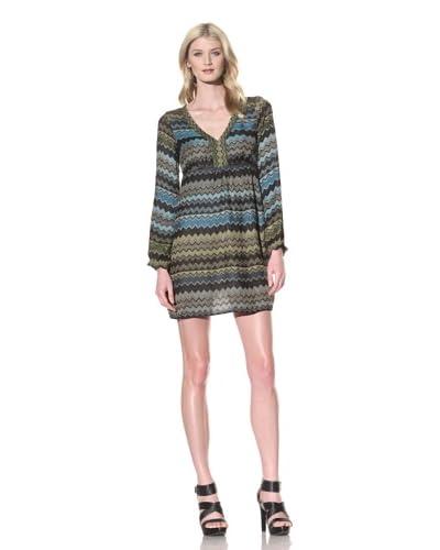Hale Bob Women's Long Sleeve Empire Waist Dress  [Blue/Olive Multi]