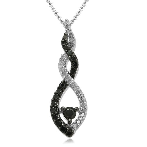 Sterling Silver Black and White Diamond Swirl Pendant Necklace (1/4 cttw, I-J Color, I3 Clarity), 18