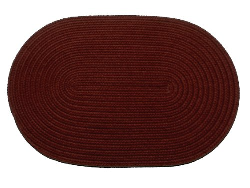 Rhody Rug Solid Polyester Oval Braided Rug, 2 by 4-Inch, Burgundy