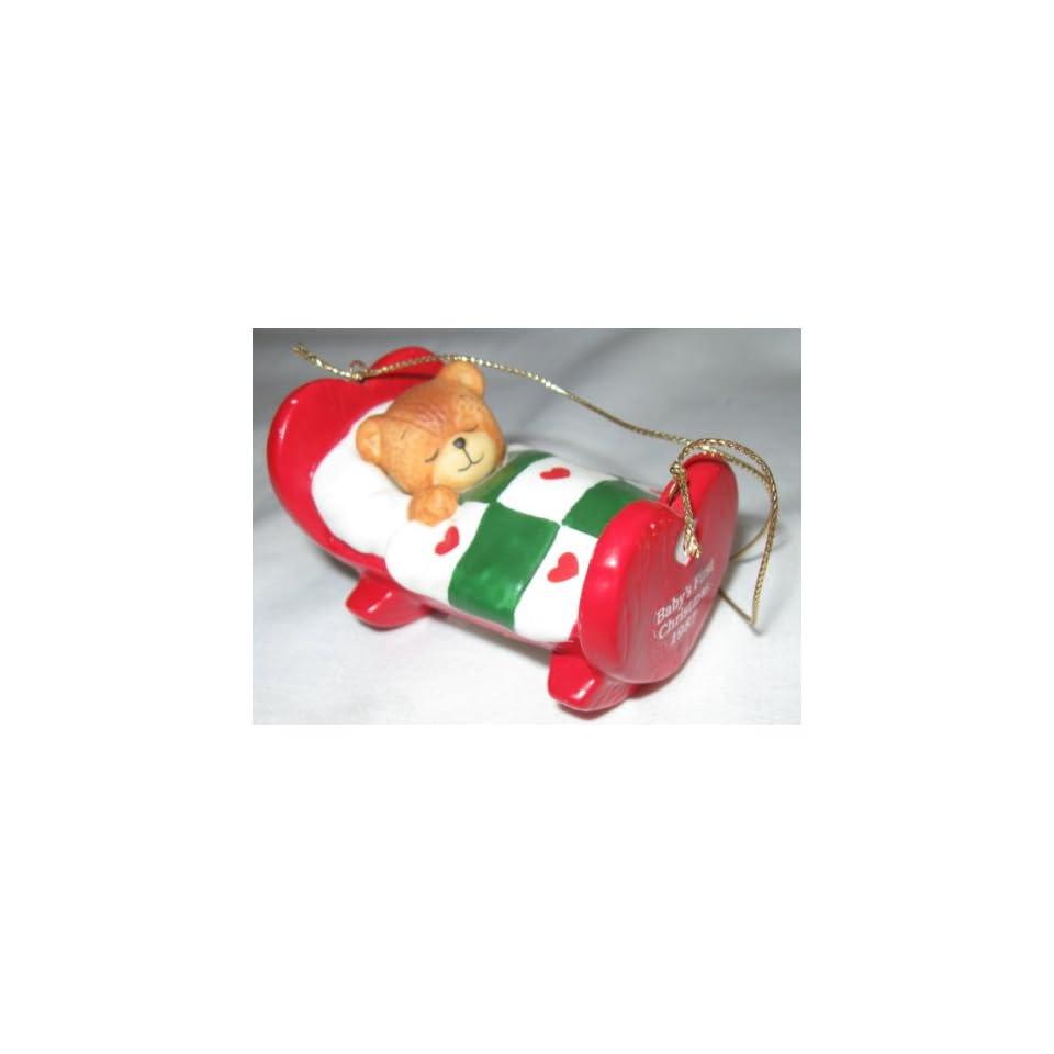 1987 Enesco Lucy Rigg Teddy Bear Babys First Christmas Ornament