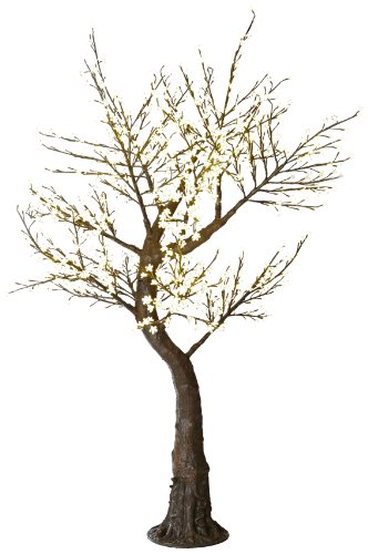 Arclite Nbl-200 Cherry Blossom Tree With Leaves, 7' Height, With Natural Brown Trunk, Clear Crystals And Warm White Lights