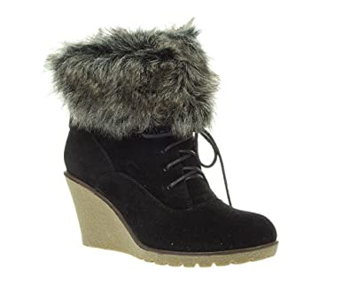 timeless womens black faux fur trim wedge lace up