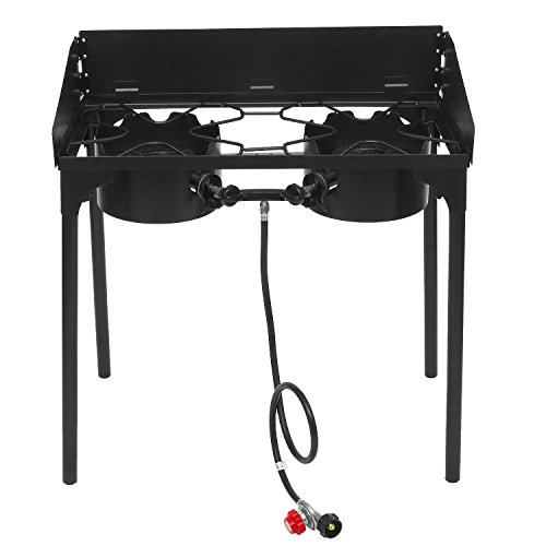 Ancheer Double Two Burner Stove Heavy Duty Outdoor Stand Portable BBQ Grill Camping Iron Stove with Adjustable Detachable Legs
