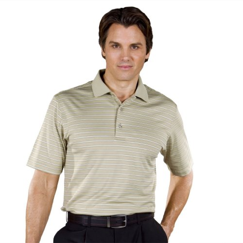 Monterey Club Mens Dry Swing Double Thin Stripe Polo Shirt #1638 (Camel/Ivory, Large)