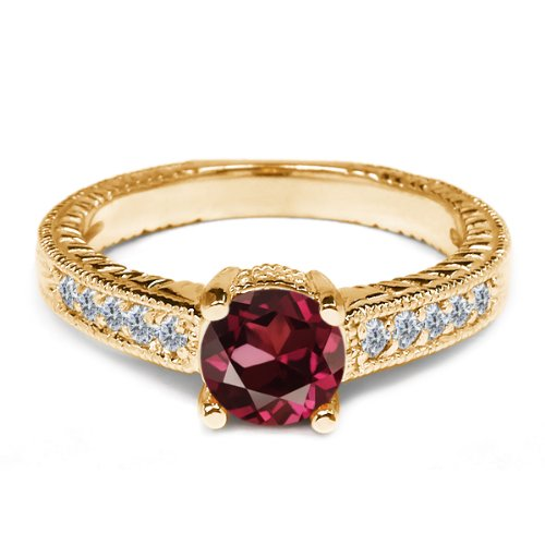 0.31 Ct Red Rhodolite Garnet White Diamond 925 Yellow Gold Plated Silver Ring