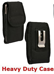 Canvas Vertical Heavy Duty Case with Metal Clip and Velcro Closure Big Enough to Fit the Otterbox Commuter Case for Samsung Galaxy S2, SII. Comes with Antenna booster.