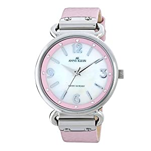 Anne Klein Women's 109651MPLP Swarovski Crystal Silver-Tone Mother-Of-Pearl Dial Pink Leather Strap Watch
