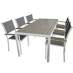 7tlg gartengarnitur alu gartentisch 205x90cm polywood non wood tischplatte 6x alu. Black Bedroom Furniture Sets. Home Design Ideas