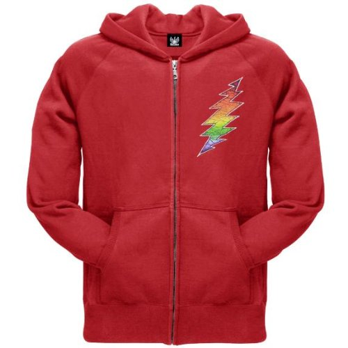 Old Glory Mens Grateful Dead - Lightning Bolt Zip Hoodie - 2X-Large Red